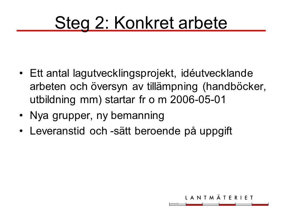 Steg 2: Konkret arbete Ett antal lagutvecklingsprojekt, idéutvecklande arbeten och översyn av tillämpning (handböcker, utbildning mm) startar fr o m 2006-05-01 Nya grupper, ny bemanning Leveranstid och -sätt beroende på uppgift