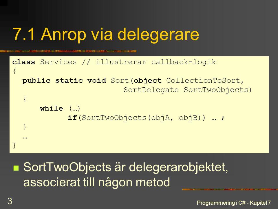 Programmering i C# - Kapitel 7 3 7.1 Anrop via delegerare SortTwoObjects är delegerarobjektet, associerat till någon metod class Services // illustrerar callback-logik { public static void Sort(object CollectionToSort, SortDelegate SortTwoObjects) { while (…) if(SortTwoObjects(objA, objB)) … ; } … }