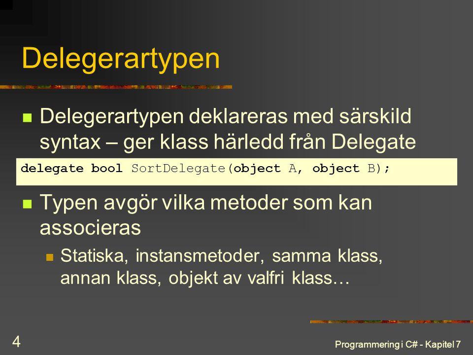 Programmering i C# - Kapitel 7 4 Delegerartypen Delegerartypen deklareras med särskild syntax – ger klass härledd från Delegate Typen avgör vilka meto