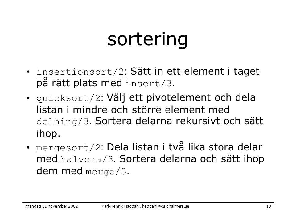 Karl-Henrik Hagdahl, hagdahl@cs.chalmers.semåndag 11 november 200210 sortering insertionsort/2 : Sätt in ett element i taget på rätt plats med insert/3.