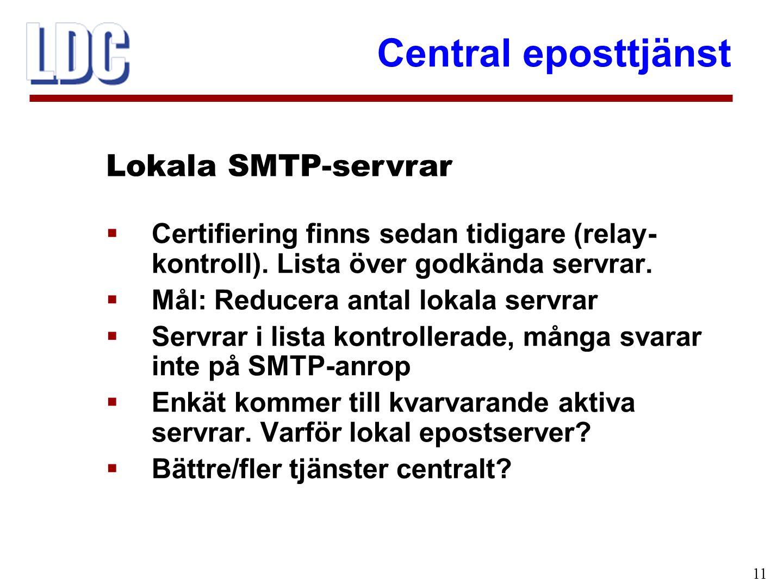 Central eposttjänst 11  Certifiering finns sedan tidigare (relay- kontroll). Lista över godkända servrar.  Mål: Reducera antal lokala servrar  Serv