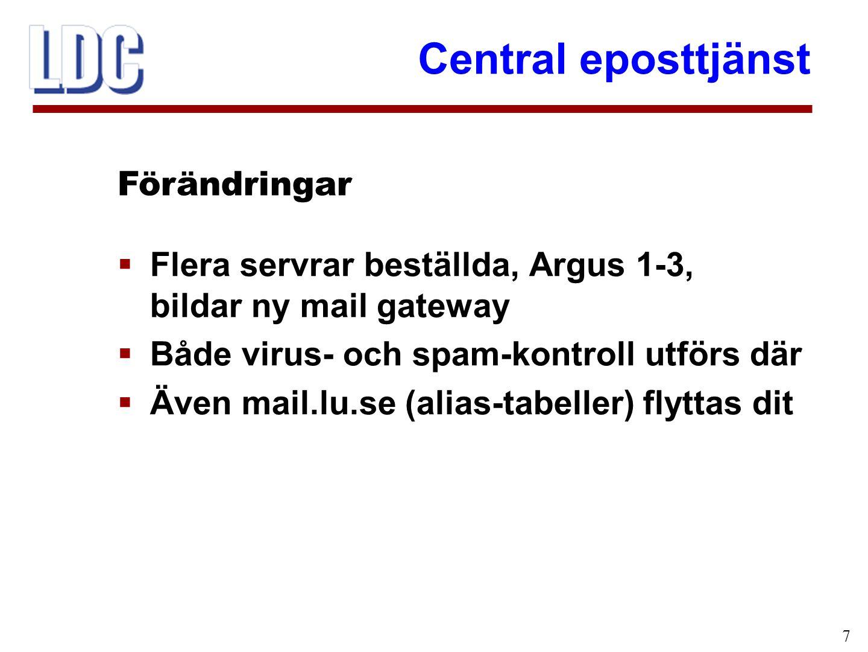 Central eposttjänst 7  Flera servrar beställda, Argus 1-3, bildar ny mail gateway  Både virus- och spam-kontroll utförs där  Även mail.lu.se (alias