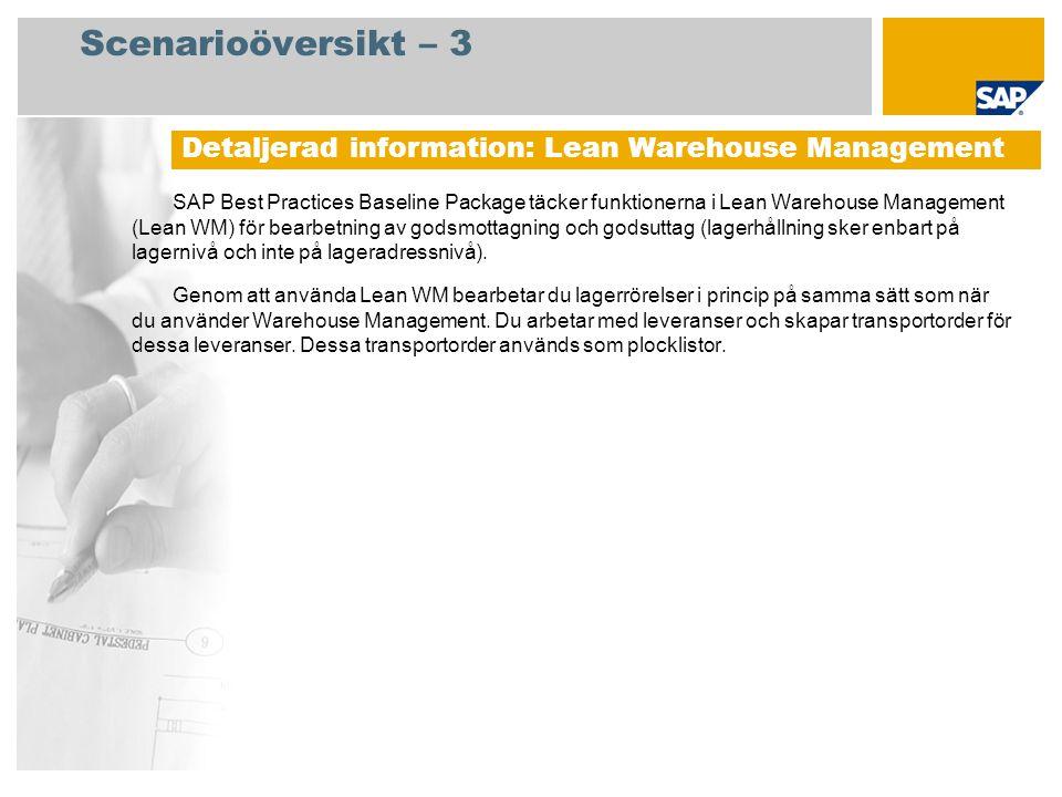 Scenarioöversikt – 3 SAP Best Practices Baseline Package täcker funktionerna i Lean Warehouse Management (Lean WM) för bearbetning av godsmottagning och godsuttag (lagerhållning sker enbart på lagernivå och inte på lageradressnivå).