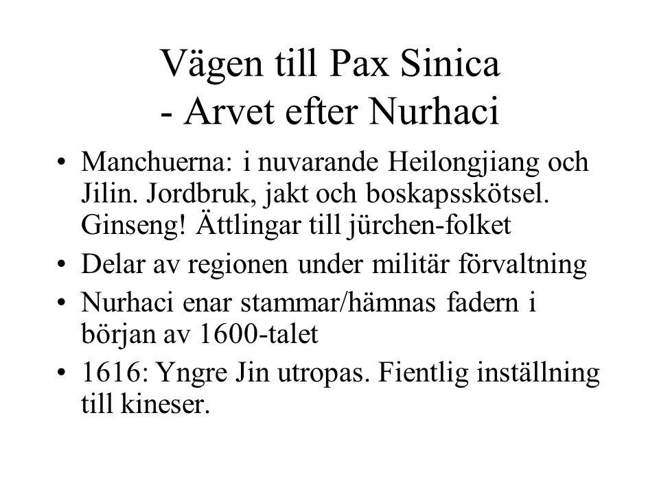 Vägen till Pax Sinica - Arvet efter Nurhaci Manchuerna: i nuvarande Heilongjiang och Jilin.