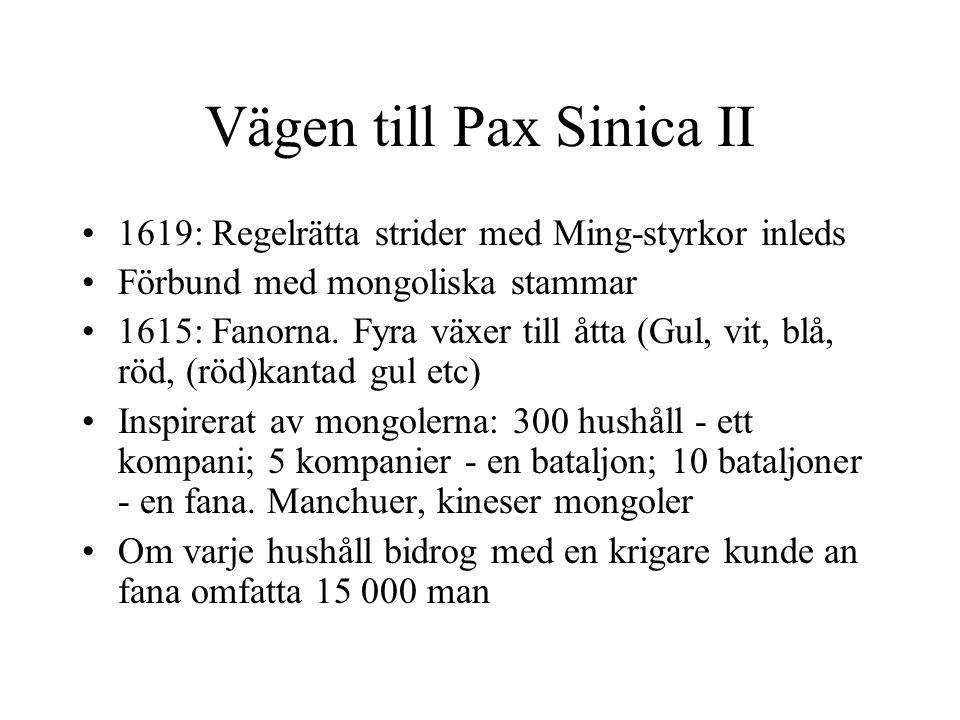 Vägen till Pax Sinica II 1619: Regelrätta strider med Ming-styrkor inleds Förbund med mongoliska stammar 1615: Fanorna.