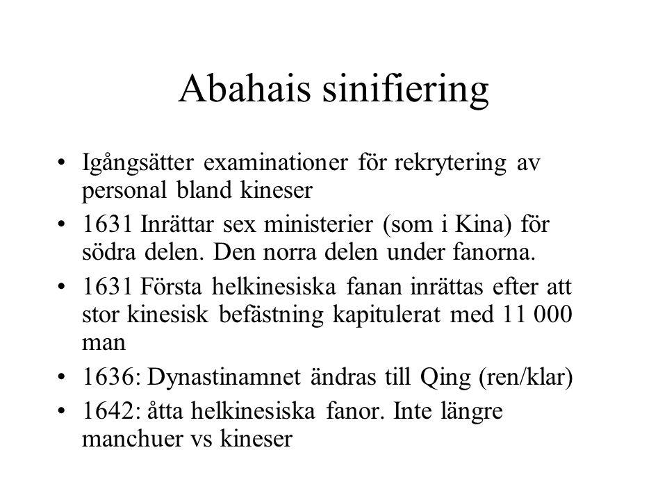Abahais sinifiering Igångsätter examinationer för rekrytering av personal bland kineser 1631 Inrättar sex ministerier (som i Kina) för södra delen.