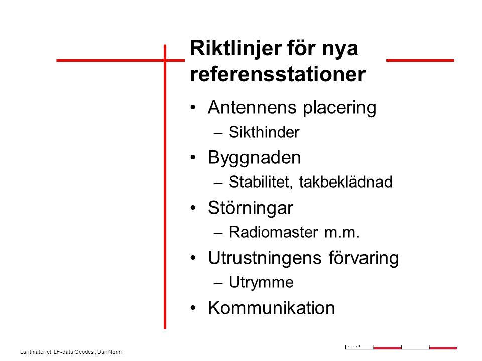 Lantmäteriet, LF-data Geodesi, Dan Norin Riktlinjer för nya referensstationer Antennens placering –Sikthinder Byggnaden –Stabilitet, takbeklädnad Störningar –Radiomaster m.m.