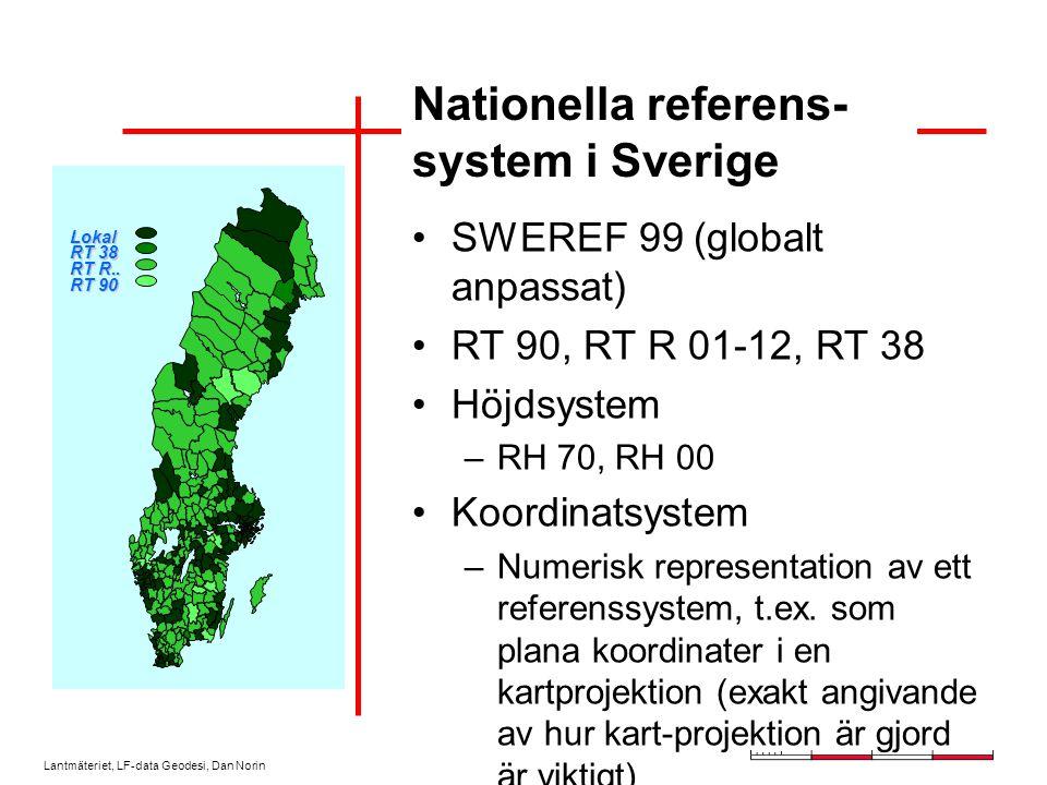 Lantmäteriet, LF-data Geodesi, Dan Norin Nationella referens- system i Sverige SWEREF 99 (globalt anpassat) RT 90, RT R 01-12, RT 38 Höjdsystem –RH 70, RH 00 Koordinatsystem –Numerisk representation av ett referenssystem, t.ex.
