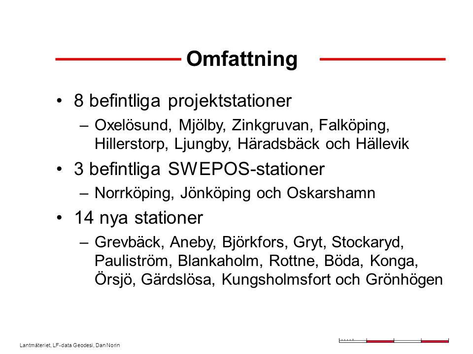 Lantmäteriet, LF-data Geodesi, Dan Norin Omfattning 8 befintliga projektstationer –Oxelösund, Mjölby, Zinkgruvan, Falköping, Hillerstorp, Ljungby, Häradsbäck och Hällevik 3 befintliga SWEPOS-stationer –Norrköping, Jönköping och Oskarshamn 14 nya stationer –Grevbäck, Aneby, Björkfors, Gryt, Stockaryd, Pauliström, Blankaholm, Rottne, Böda, Konga, Örsjö, Gärdslösa, Kungsholmsfort och Grönhögen