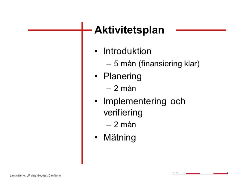 Lantmäteriet, LF-data Geodesi, Dan Norin Aktivitetsplan Introduktion –5 mån (finansiering klar) Planering –2 mån Implementering och verifiering –2 mån Mätning