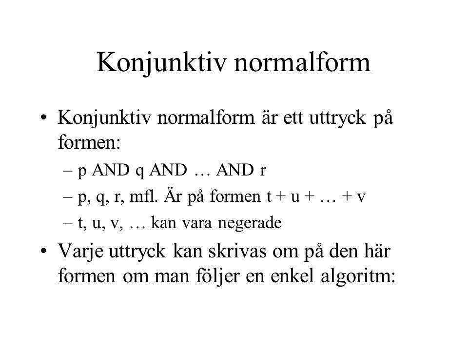 Att skriva om till konjunktiv normalform 1.Eliminera alla operatorer andra än AND, OR och NOT 2.Använd DeMorgans lagar för att flytta ner alla negationer tills de finns endast på enkla variabler (dvs.