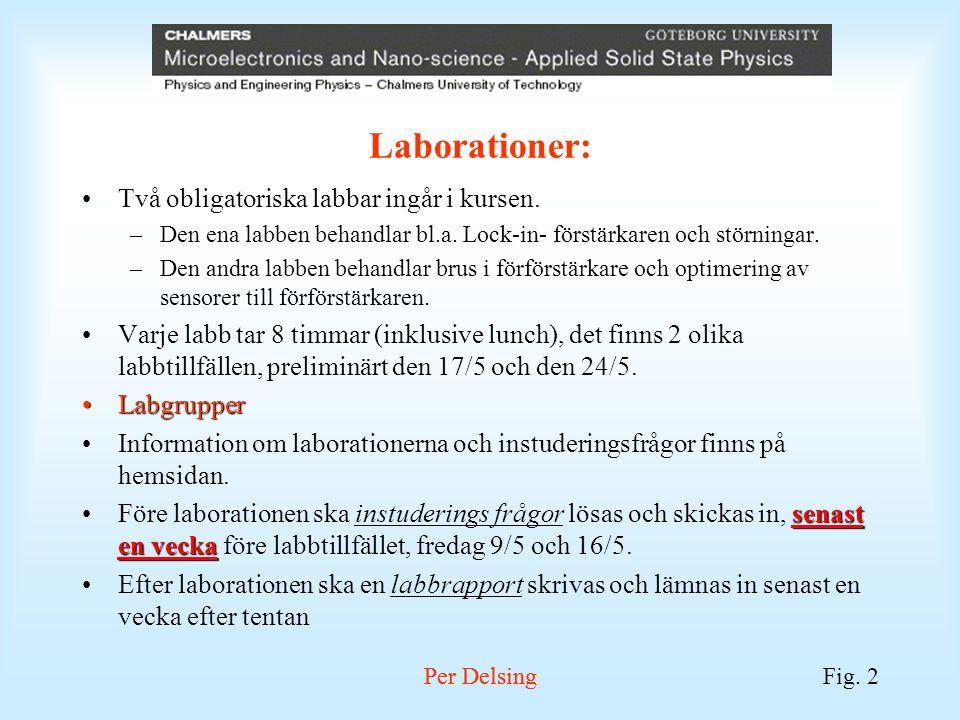 Per DelsingFig. 2 Per Delsing Laborationer: Två obligatoriska labbar ingår i kursen. –Den ena labben behandlar bl.a. Lock-in- förstärkaren och störnin