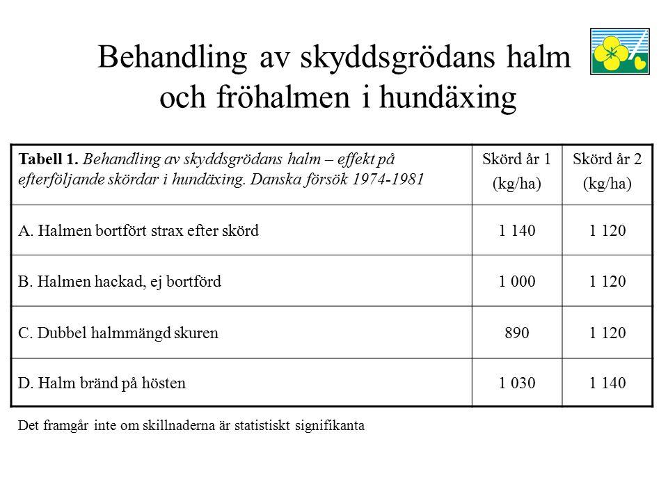 Behandling av skyddsgrödans halm och fröhalmen i hundäxing Tabell 1. Behandling av skyddsgrödans halm – effekt på efterföljande skördar i hundäxing. D