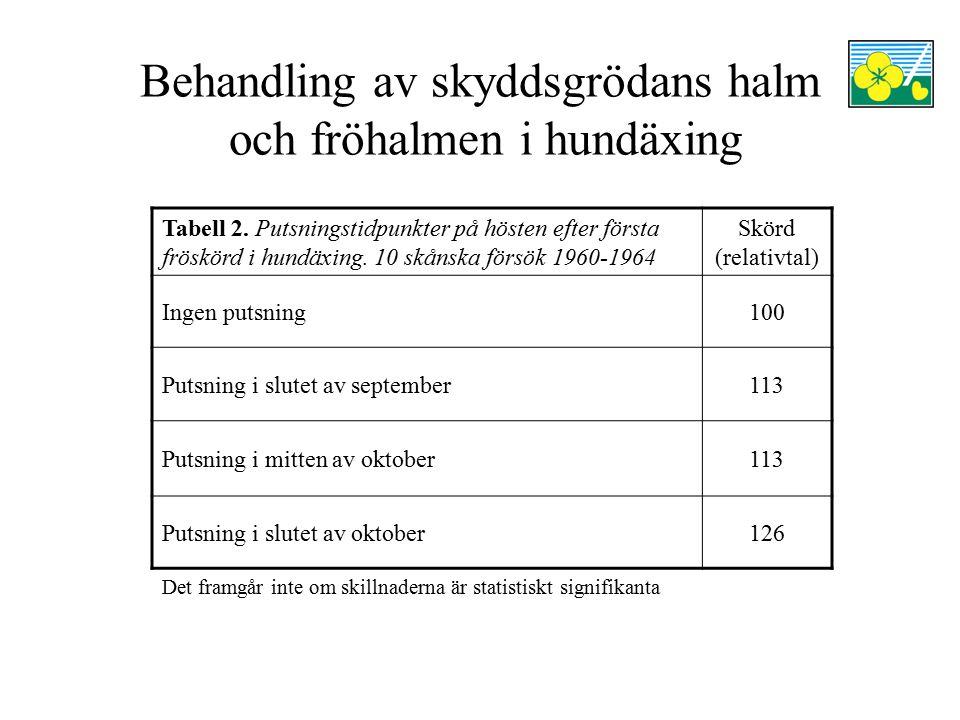 Behandling av skyddsgrödans halm och fröhalmen i hundäxing Tabell 2. Putsningstidpunkter på hösten efter första fröskörd i hundäxing. 10 skånska försö
