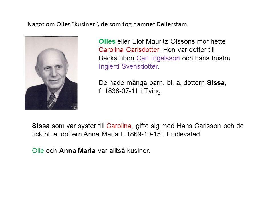 "Något om Olles ""kusiner"", de som tog namnet Dellerstam. Olles eller Elof Mauritz Olssons mor hette Carolina Carlsdotter. Hon var dotter till Backstubo"