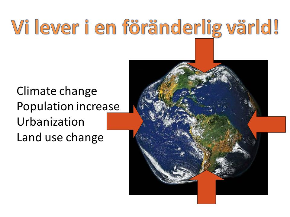 Climate change Population increase Urbanization Land use change