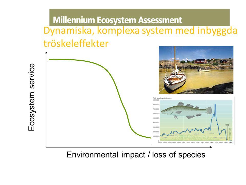 Ecosystem service Environmental impact / loss of species Dynamiska, komplexa system med inbyggda tröskeleffekter