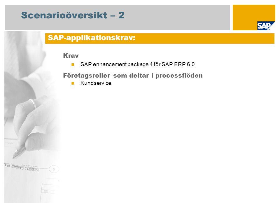Scenarioöversikt – 2 Krav SAP enhancement package 4 för SAP ERP 6.0 Företagsroller som deltar i processflöden Kundservice SAP-applikationskrav: