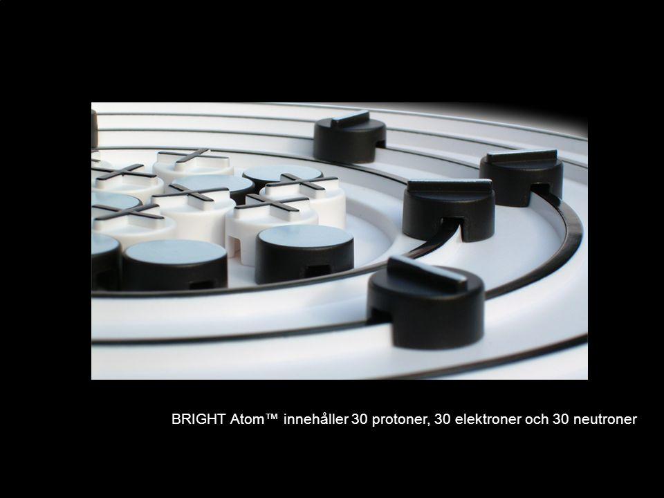 BRIGHT Atom™ innehåller 30 protoner, 30 elektroner och 30 neutroner