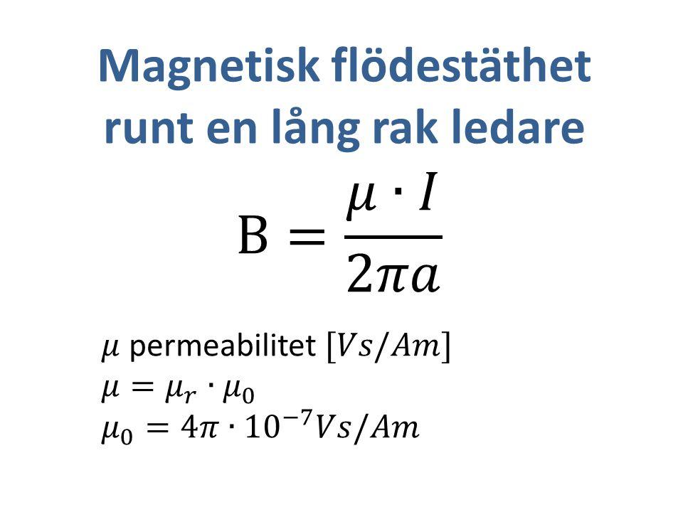 Magnetisk flödestäthet runt en lång rak ledare