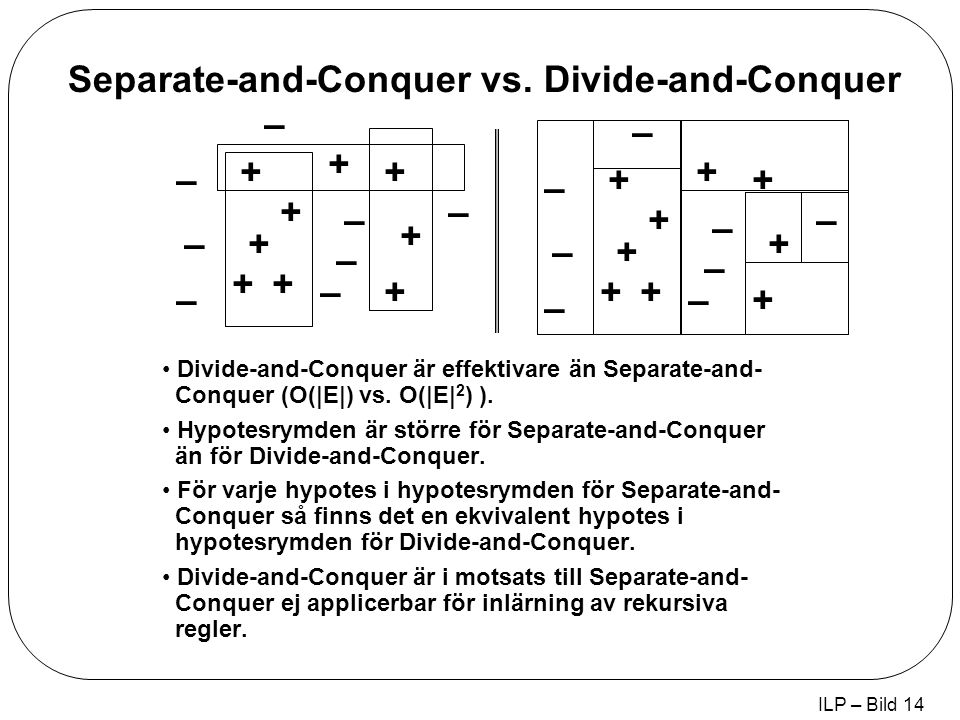 ILP – Bild 14 + + + + + + + + + – – – – – – – – + + + + + + + + + – – – – – – – – Divide-and-Conquer är effektivare än Separate-and- Conquer (O(|E|) vs.