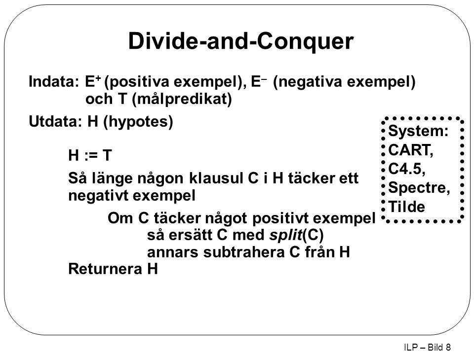 ILP – Bild 8 Divide-and-Conquer Indata: E + (positiva exempel), E – (negativa exempel) och T (målpredikat) Utdata: H (hypotes) H := T Så länge någon klausul C i H täcker ett negativt exempel Om C täcker något positivt exempel så ersätt C med split(C) annars subtrahera C från H Returnera H System: CART, C4.5, Spectre, Tilde
