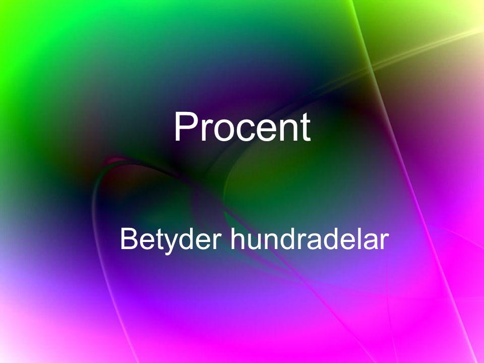 Procent Betyder hundradelar