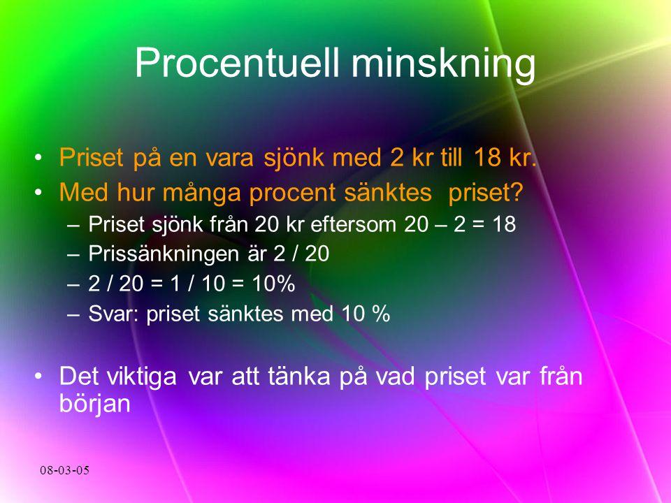 08-03-05 Procentuell minskning Priset på en vara sjönk med 2 kr till 18 kr. Med hur många procent sänktes priset? –Priset sjönk från 20 kr eftersom 20