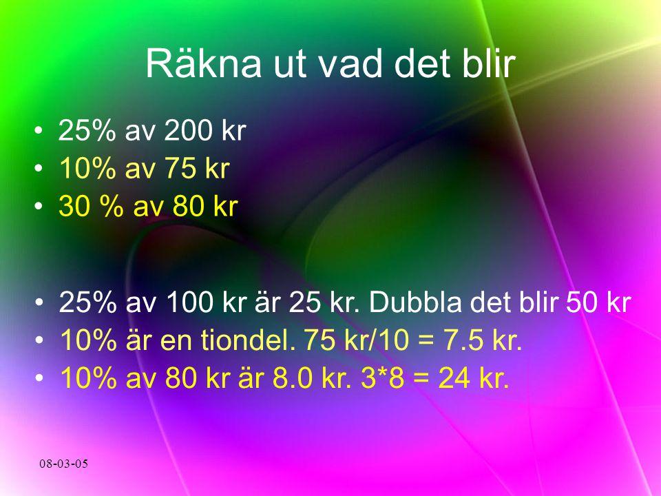 08-03-05 Räkna ut vad det blir 25% av 200 kr 10% av 75 kr 30 % av 80 kr 25% av 100 kr är 25 kr. Dubbla det blir 50 kr 10% är en tiondel. 75 kr/10 = 7.