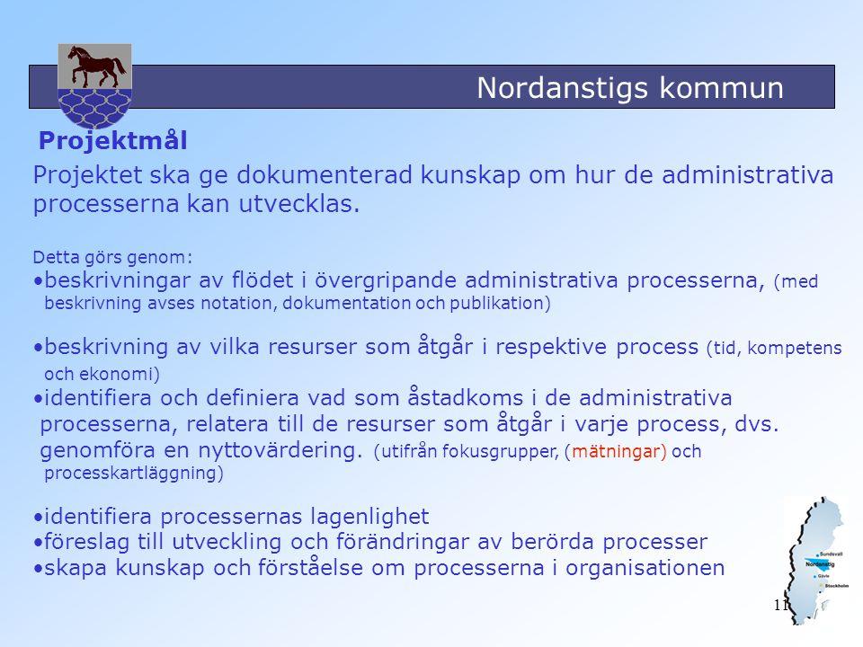 Nordanstigs kommun 11 Projektmål Projektet ska ge dokumenterad kunskap om hur de administrativa processerna kan utvecklas. Detta görs genom: beskrivni