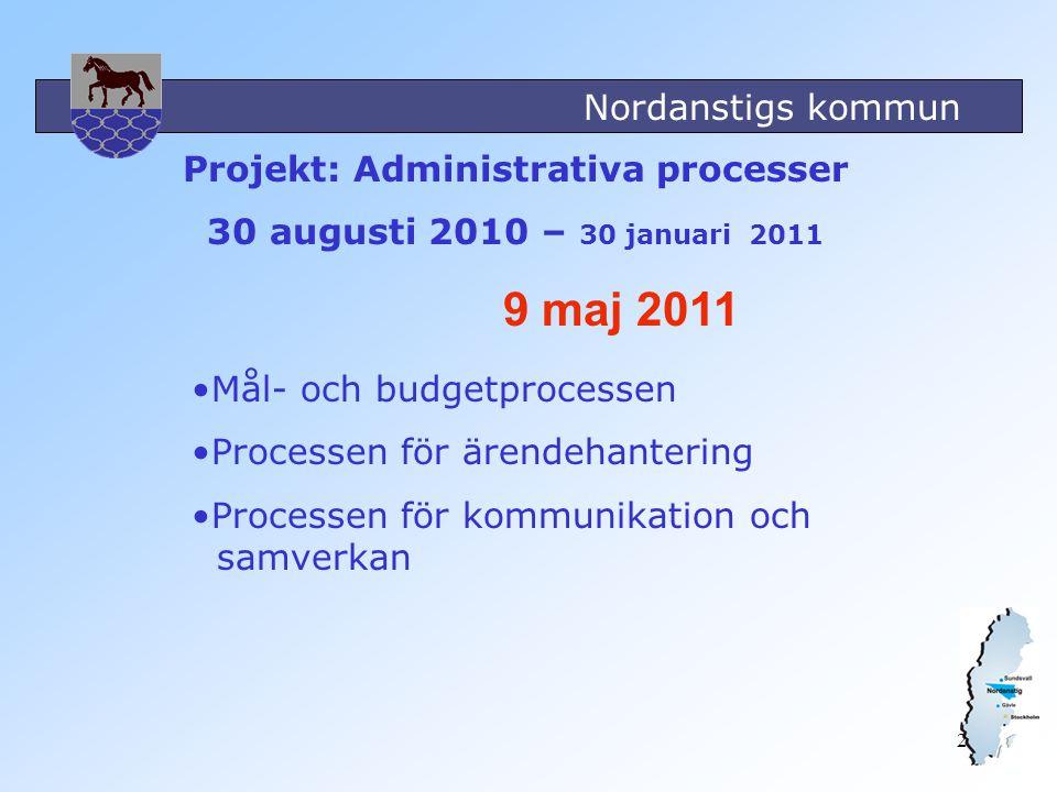 Nordanstigs kommun 2 Projekt: Administrativa processer 30 augusti 2010 – 30 januari 2011 9 maj 2011 Mål- och budgetprocessen Processen för ärendehante