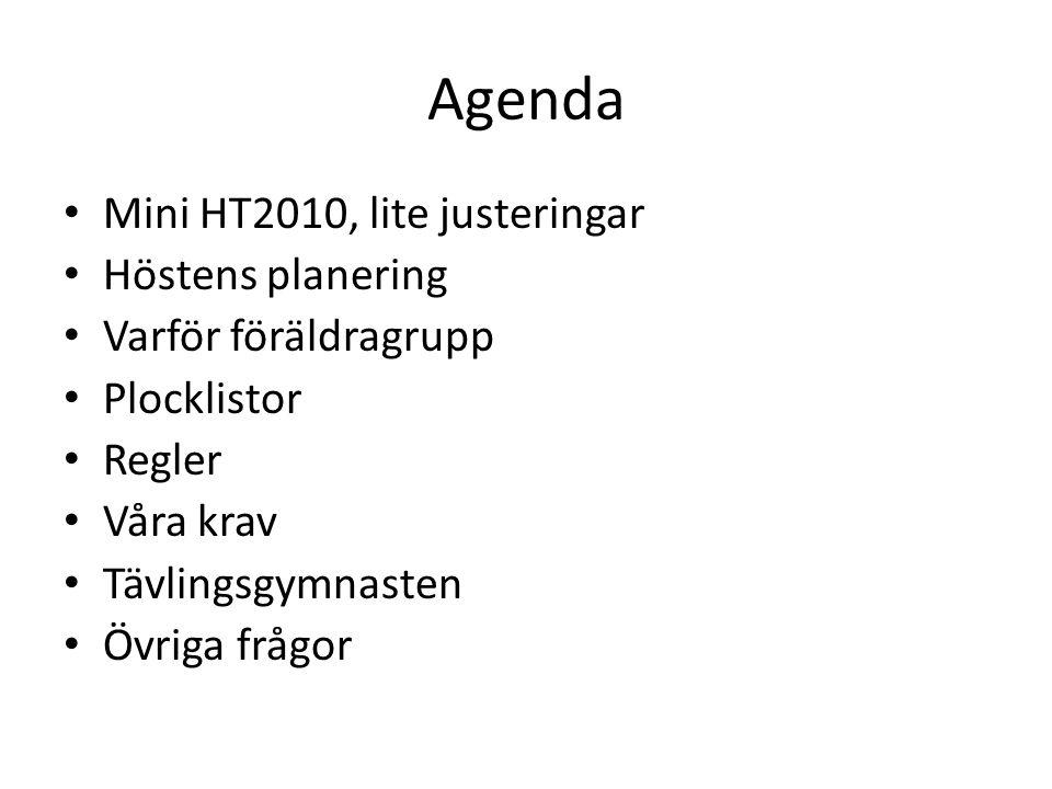 Mini HT2010, lite justeringar Färre gymnaster i hallen – Totalt 60 gymnaster i Minitruppen, åldersindelade administrativt, kunskapsindelade på träning Fler vuxna ledare – Välkomna Ann-Sofi, Deridre, Linda.