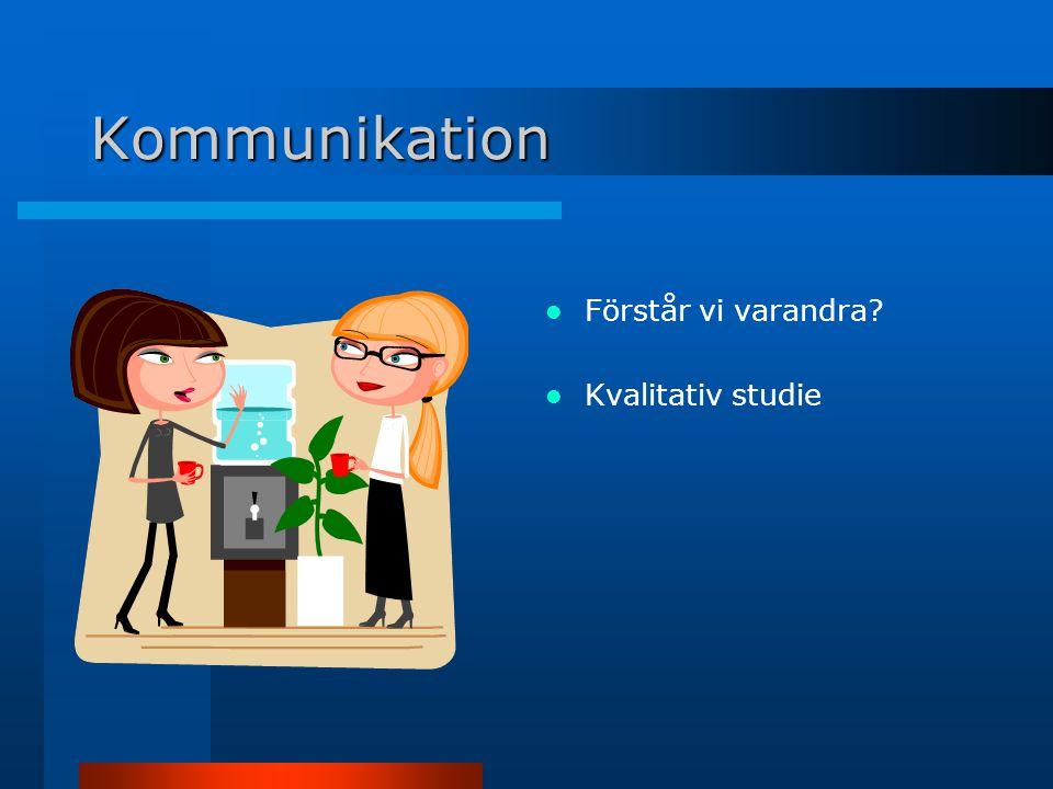 Kommunikation Förstår vi varandra Kvalitativ studie