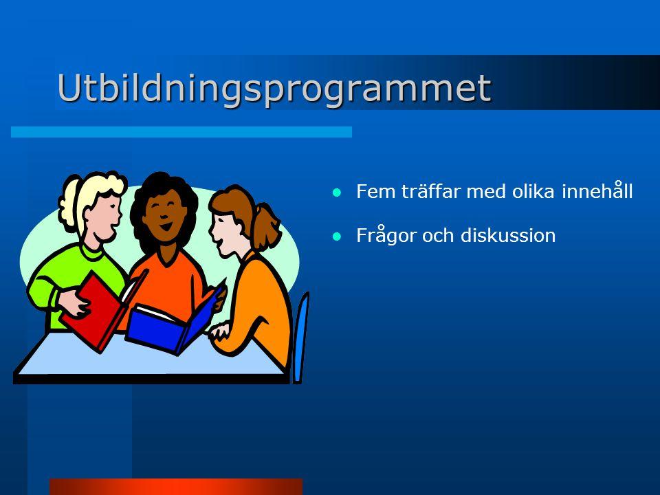 Utbildningsprogrammet Fem träffar med olika innehåll Frågor och diskussion