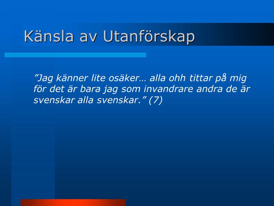 Känsla av Utanförskap Jag känner lite osäker… alla ohh tittar på mig för det är bara jag som invandrare andra de är svenskar alla svenskar. (7)