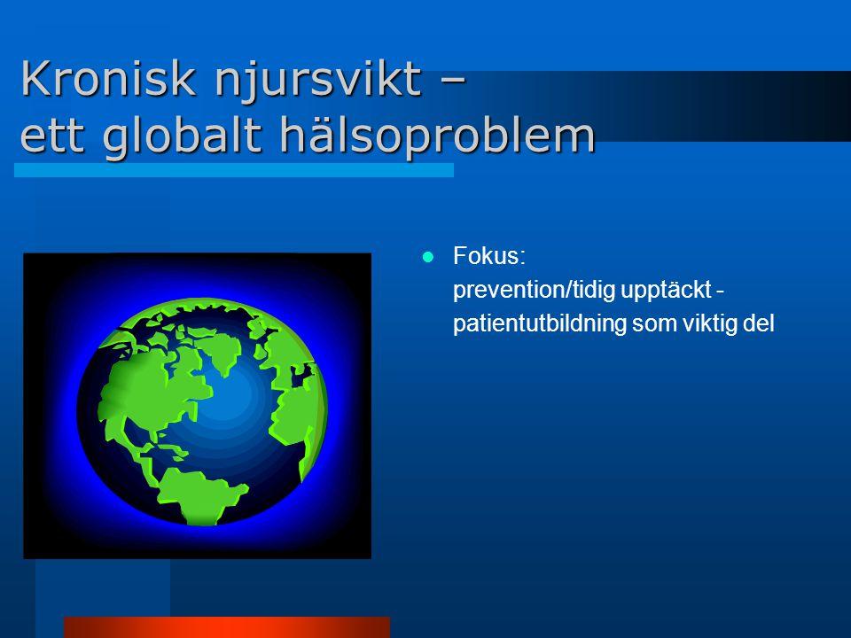 Kronisk njursvikt – ett globalt hälsoproblem Fokus: prevention/tidig upptäckt - patientutbildning som viktig del