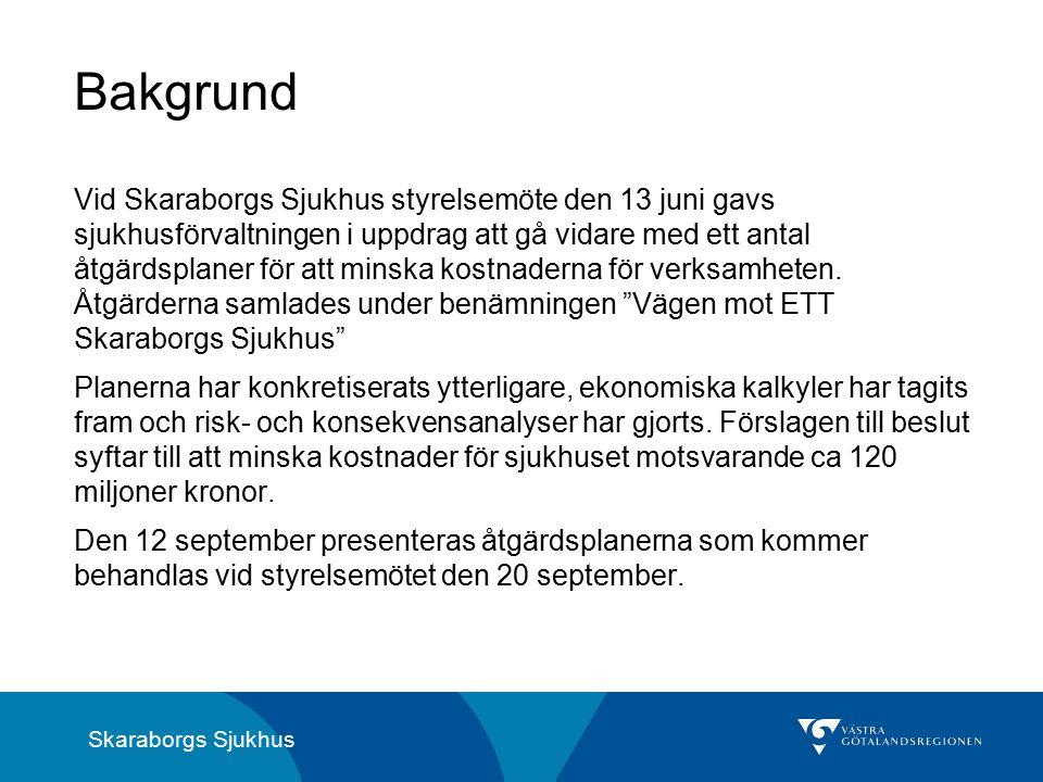 Skaraborgs Sjukhus Vid Skaraborgs Sjukhus styrelsemöte den 13 juni gavs sjukhusförvaltningen i uppdrag att gå vidare med ett antal åtgärdsplaner för att minska kostnaderna för verksamheten.