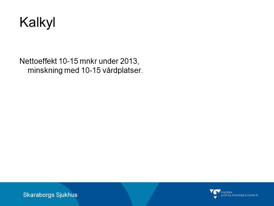 Skaraborgs Sjukhus Kalkyl Nettoeffekt 10-15 mnkr under 2013, minskning med 10-15 vårdplatser.
