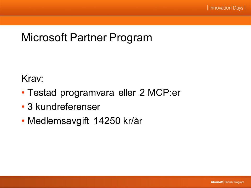 Microsoft Partner Program Krav: Testad programvara eller 2 MCP:er 3 kundreferenser Medlemsavgift 14250 kr/år