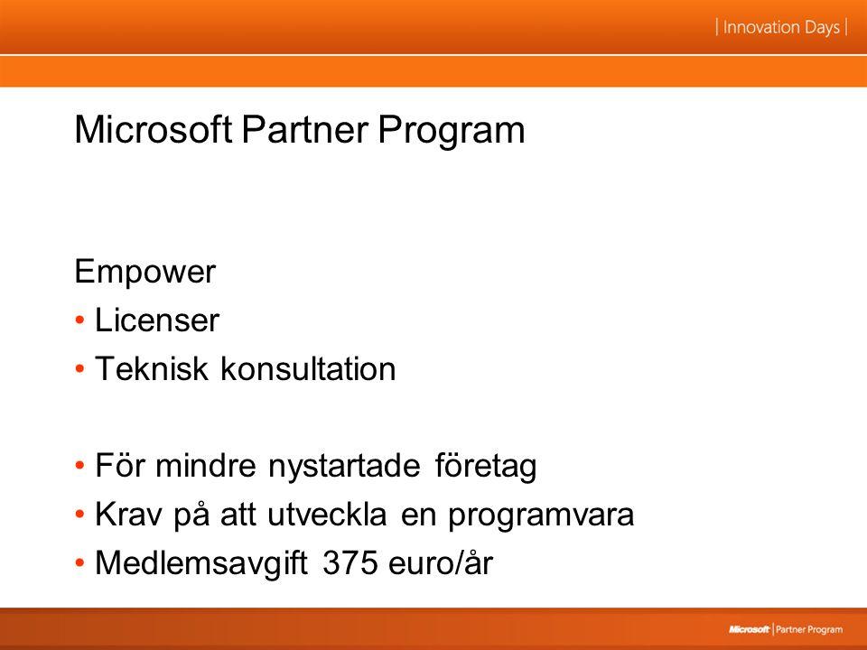 Microsoft Partner Program Empower Licenser Teknisk konsultation För mindre nystartade företag Krav på att utveckla en programvara Medlemsavgift 375 eu