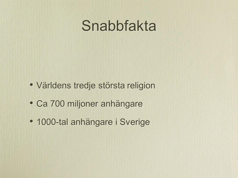Snabbfakta Världens tredje största religion Ca 700 miljoner anhängare 1000-tal anhängare i Sverige Världens tredje största religion Ca 700 miljoner an