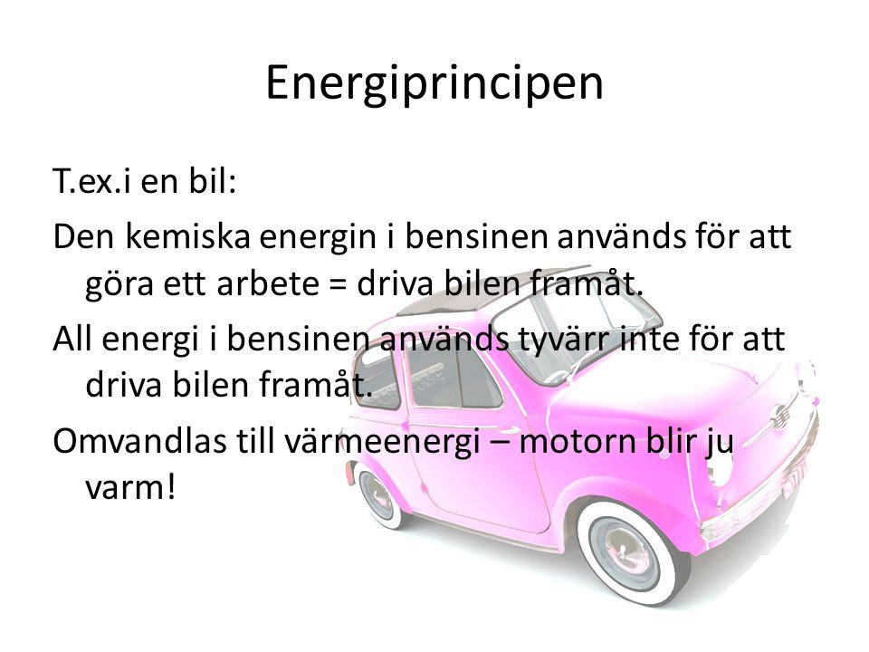 Energiprincipen T.ex.i en bil: Den kemiska energin i bensinen används för att göra ett arbete = driva bilen framåt.