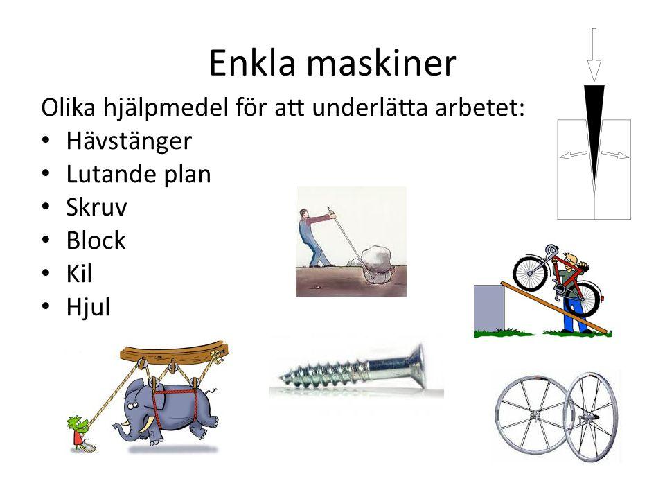 Enkla maskiner Olika hjälpmedel för att underlätta arbetet: Hävstänger Lutande plan Skruv Block Kil Hjul