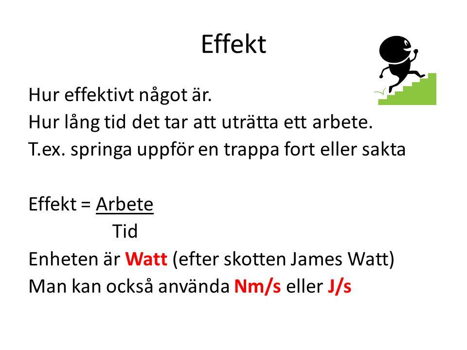 Effekt Hur effektivt något är.Hur lång tid det tar att uträtta ett arbete.