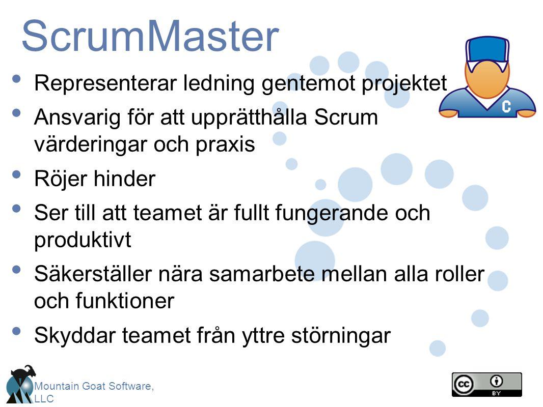 Mountain Goat Software, LLC ScrumMaster Representerar ledning gentemot projektet Ansvarig för att upprätthålla Scrum värderingar och praxis Röjer hinder Ser till att teamet är fullt fungerande och produktivt Säkerställer nära samarbete mellan alla roller och funktioner Skyddar teamet från yttre störningar