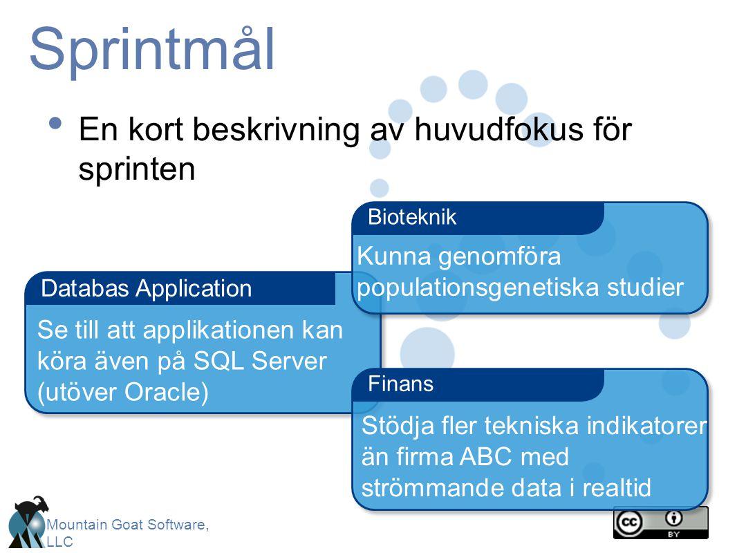 Mountain Goat Software, LLC Sprintmål En kort beskrivning av huvudfokus för sprinten Databas Application Finans Bioteknik Kunna genomföra populationsgenetiska studier Stödja fler tekniska indikatorer än firma ABC med strömmande data i realtid Se till att applikationen kan köra även på SQL Server (utöver Oracle)