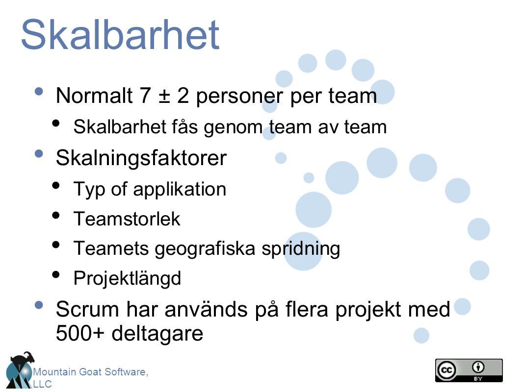 Mountain Goat Software, LLC Skalbarhet Normalt 7 ± 2 personer per team Skalbarhet fås genom team av team Skalningsfaktorer Typ of applikation Teamstorlek Teamets geografiska spridning Projektlängd Scrum har används på flera projekt med 500+ deltagare