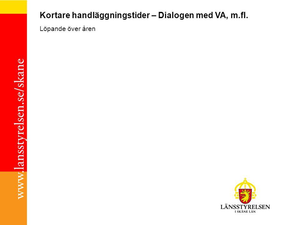 Kortare handläggningstider – Dialogen med VA, m.fl. Löpande över åren