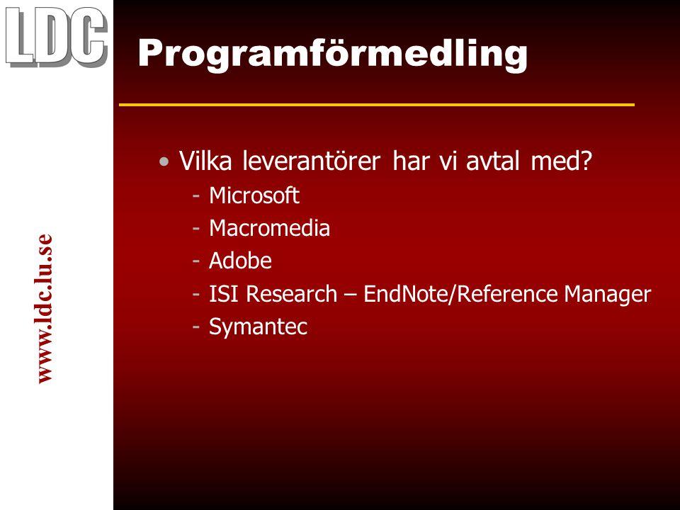 www.ldc.lu.se Programförmedling Vilka leverantörer har vi avtal med.