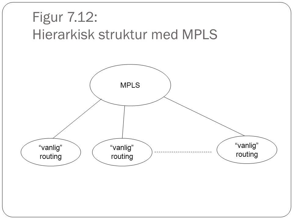 """Figur 7.12: Hierarkisk struktur med MPLS MPLS """"vanlig"""" routing """"vanlig"""" routing """"vanlig"""" routing"""